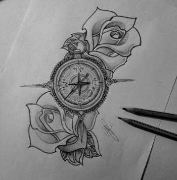 Kompas met rozen