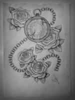 Klok met rozen